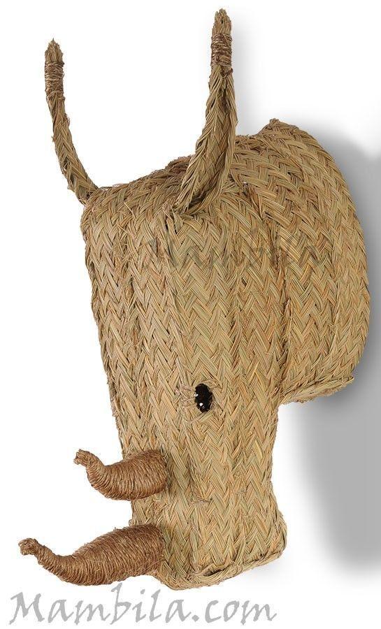 Cabeza de rinoceronte de esparto - Cabezas de animales decoracion ...