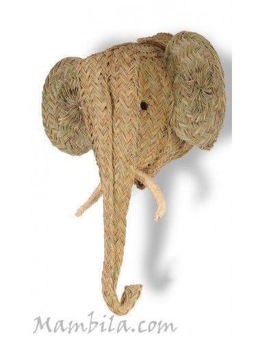 (Vendido) Cabeza de elefante esparto H-1432