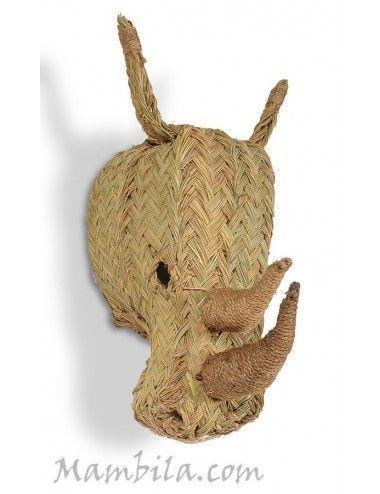 Cabeza de rinoceronte mediano esparto H-1860